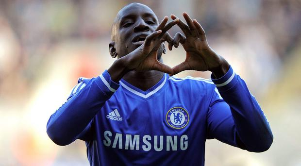 Chelsea's Demba Ba celebrates scoring the only goal of the game against Swansea City