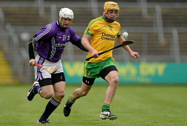 Donegal's Sean McVeigh in action against Fingal's Rob Sheridan