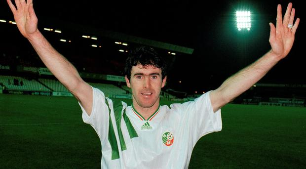 Alan McLoughlin celebrates after the match against Northern Ireland in Belfast in which he scored the goal which took Ireland to the 1994 World Cup