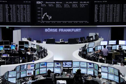 The curve of the German share price index DAX board is pictured at the Frankfurt stock exchange April 14, 2014