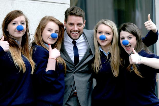 Chloe McKenna, Ciara Gallogly, Kerrie Hyland and Clodagh Murray from Carrigallen Vocational School with Keith Duffy.