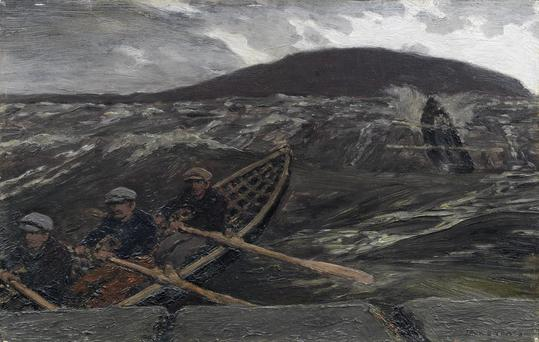 Undated handout photo issued by Bonhams of the painting by Jack Butler Yeats entitled Island Men Returning which is due to be sold at the auction house's Modern British & Irish Art Sale in London next month. Photo: Bonhams/PA Wire