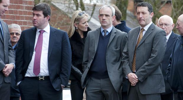 14/04/2014. Pictured are (LtoR) Kieran MacManus, son of JP MacManus, jockey Ruby Walsh, and James Nash at the funeral of Marguerite Weld. Photo: El Keegan