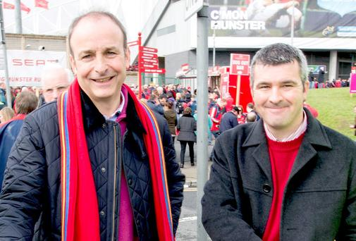 Fianna Fáil MEP candidate for Ireland South, Kieran Hartley, right, pictured with the leader of Fianna Fáil Micheál Martin, has campaigned strongly against pylons. Picture: Keith Wiseman