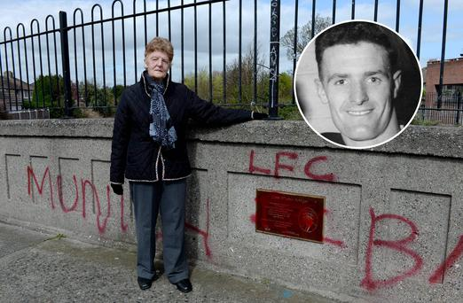 Rita Whelan at the bridge named after her brother Liam (inset) in Cabra, Dublin