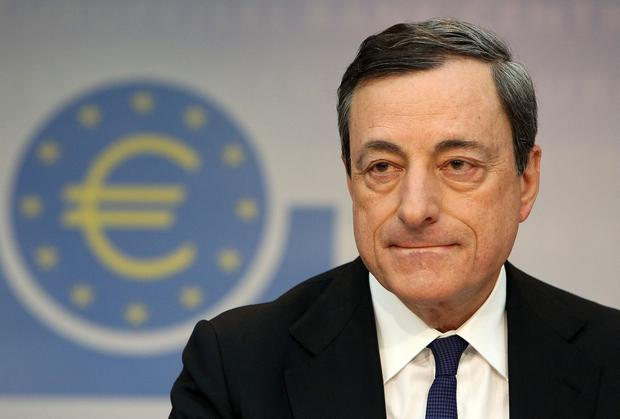 """ECB president Mario Draghi said that a strengthening of the euro """"requires further monetary stimulus""""."""