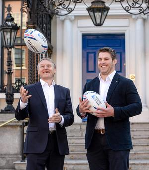 Ireland head coach Joe Schmidt, left, and Ireland's Sean O'Brien in attendance at a TV3 Group RWC 2015 sports rights announcement Picture credit: Pat Murphy / SPORTSFILE