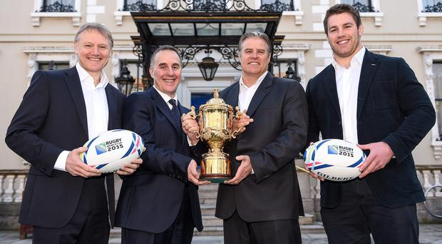Ireland head coach Joe Schmidt, left, David McRedmond, second left, TV3 Group CEO, Brett Gosper, IRB CEO, and Ireland's Sean O'Brien, right, in attendance at a TV3 Group RWC 2015 sports rights announcement. Photo: Sportsfile