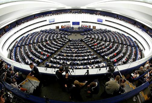 Members of the European Parliament take part in a voting session at the European Parliament in Strasbourg