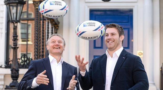 Joe Schmidt and Sean O'Brien outside the Mansion House yesterday