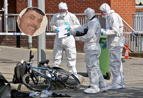 John O'Regan, inset, who was shot dead as he cycled to work. Main: Garda forensic officers at the crime scene.