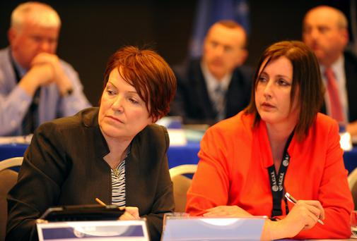 15-4-2014: Acting Garda Commissioner Norin O'Sullivan, left with AGSI vice-president Antoinette Cunningham pictured at the AGSI conference in The Malton Hotel, Killarney on Tuesday. Picture by Don MacMonagle