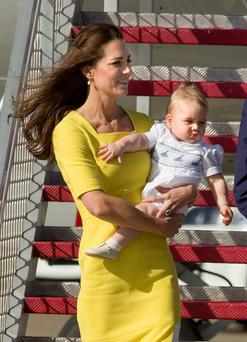 Kate Middleton with eight-month-old son Prince George in Sydney