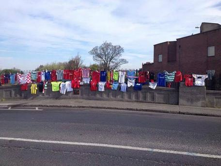 The Liam Whelan Bridge adorned with jerseys today
