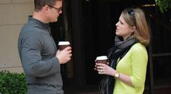 Brian O'Driscoll and wife Amy Huberman stop off for a hug and a coffee in Butlers on Chatham Street before sitting down outside The Westbury Hotel