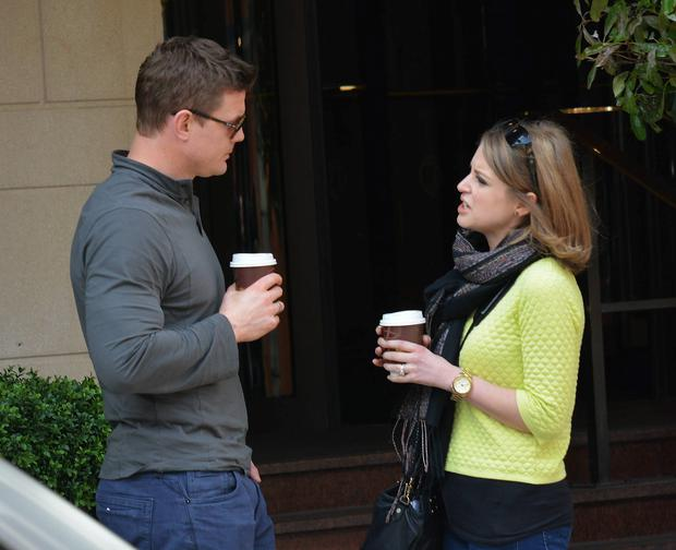 Brian O'Driscoll and wife Amy Huberman stop off for a hug and a coffee in Butlers on Chatham Street before sitting down outside The Westbury Hotel to enjoy the sun