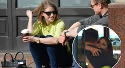 Brian O'Driscoll and wife Amy Huberman stop off for a hug and a coffee in Butlers on Chatham Street before sitting down outside The Westbury Hotel to enjoy the sun and their beverages before posing in selfies with fans, Dublin, Ireland - 16.04.14. Pictures: Cathal Burke / VIPIRELAND.COM