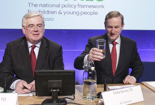 Tanaiste Eamon Gilmore and Taoiseach, Enda Kenny at Dublin Castle for The National Policy Framework for Children and Young People 2014 - 2020. Photo: Collins