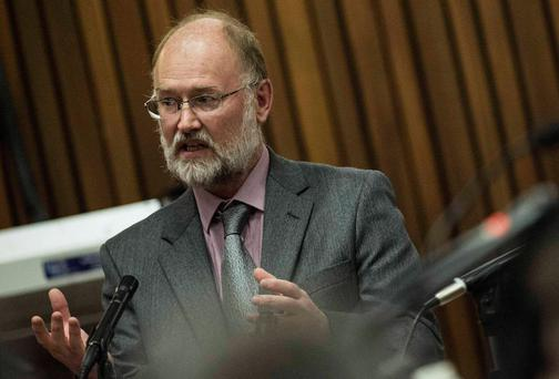 Forensic expert Roger Dixon testifies during the trial of South African Olympic and Paralympic athlete Oscar Pistorius