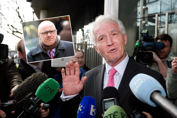 Sean FitzPatrick speaking to members of the media outside court after he was cleared. Inset: David Drumm