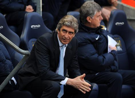 Manchester City manager Manuel Pellegrini during the Barclays Premier League match at the Etihad Stadium against Sunderland