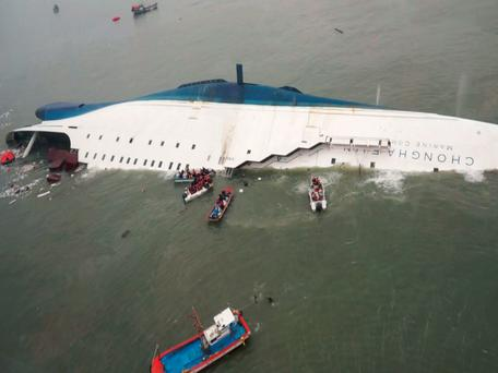 "South Korean ferry ""Sewol"" is seen sinking in the sea off Jindo"