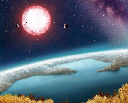 An artist's depiction of Earth-like Kepler-186f with its parent star in the distance