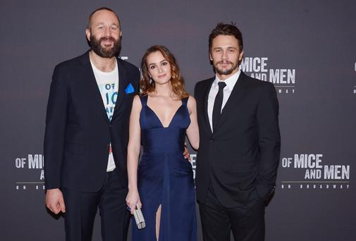 Chris O'Dowd, Leighton Meester and James Franco attend the after party for the Broadway opening night for