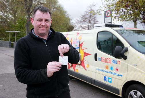 Driver Martin Cosgrave, Raheny, who was left sitting in his van for three hours after Setanta Insurance Company went bust. Picture: Arthur Carron