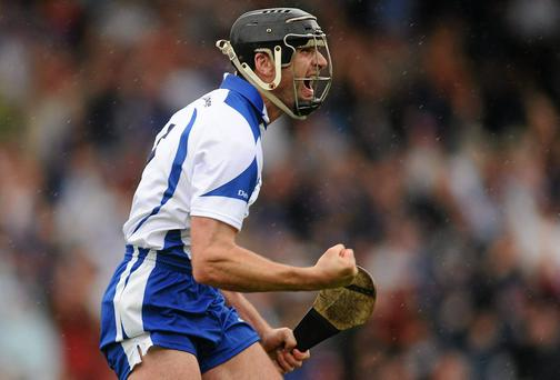 Tony Browne celebrates after scoring during the Munster final win over Cork in 2010. Photo: Stephen McCarthy / SPORTSFILE
