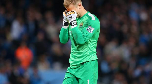 Joe Hart reacts to the draw with Sunderland which derailed City's hopes of winning the title. Photo: Alex Livesey/Getty Images