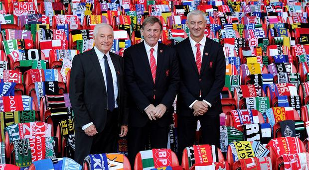 Liverpool legends Roy Evans, Kenny Dalglish and Ian Rush pictured at Anfield during this week's Hillsborough memorial. Photo: Liverpool FC via Getty Images