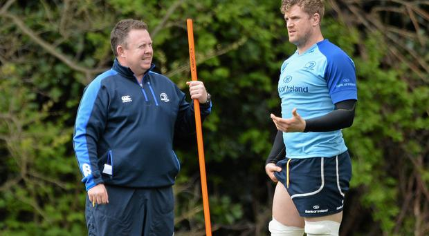 Leinster head coach Matt O'Connor with Jamie Heaslip during squad training