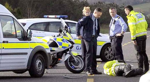 The scene on the Mallow Road, Cork when a Garda motorcyclist was injured in the pursuit of a stolen van