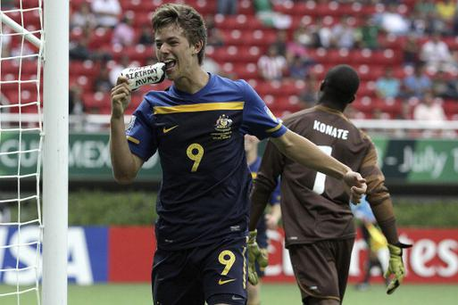 Dylan Tombides of Australia celebrates a socored goal during a match against Ivory Coast at the 2011 U-17 World Cup in Mexico. (Photo by Juan Mejia/LatinContent/Getty Images)