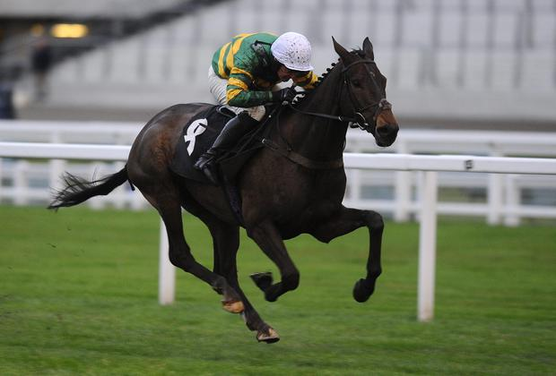 Alan Berry riding Shutthefrontdoor on their way to victory at Ascot