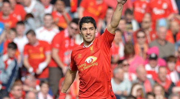 Luis Suarez is the favourite among two other Liverpool players nominated for the PFA Player of the Year award. Photo: PAUL ELLIS/AFP/Getty Images