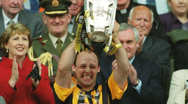 Kilkenny captain Andy Comerford lifts the Liam McCarthy cup after victory over Clare in 2002