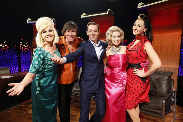 """Ryan Tubridy introduces Popular RTÉ newscaster Eileen Whelan as Dusty Springfield, Senator Eamonn Coghlan is Davey Jones of The Monkeys, Best-selling author Cathy Kelly as Marilyn Monroe and Television presenter Emma O'Driscoll is Imelda May on the """"Late Late Show – Reach for the Stars"""""""