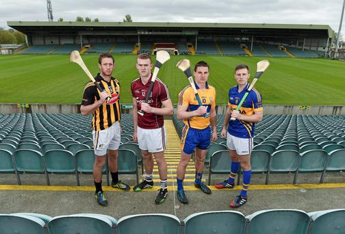 Kilkenny's Michael Fennelly, Galway's Jonathan Glynn, Clare's John Conlon and Shane McGrath of Tipperary met ahead of this weekend's Allianz NHL semi-finals in Limerick. Photo: Diarmuid Greene / SPORTSFILE