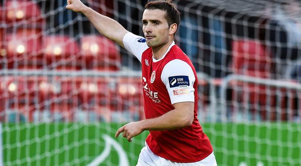 Christy Fagan celebrates after scoring St Patrick's Athletic's first goal against Bohemians at Richmond Park