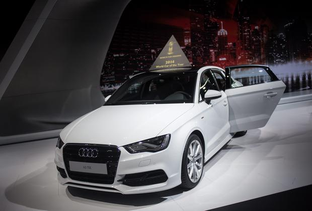 The Audi A3 sits on display during a media preview of the 2014 New York International Auto Show at the Jacob Javits Convention Center on April 17, 2014 in New York City. The show opens with a sneak preview to the public April 18 and runs through April 27. Photo: Getty Images