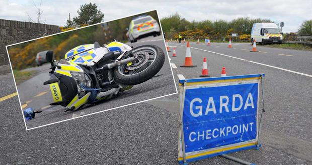 The scene on the Mallow Road between Blarney and Killeens yesterday where a garda was injured when his motorcycle was rammed by a stolen van following a robbery in Glanmire. Picture: Tom Doherty / Provision