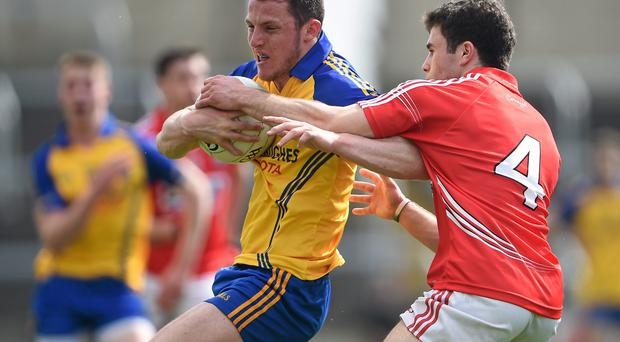 Man of the match Diarmuid Murtagh, Roscommon, in action against Stephen Cronin