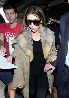 Kim Kardashian is seen arriving at Los Angeles International Airport