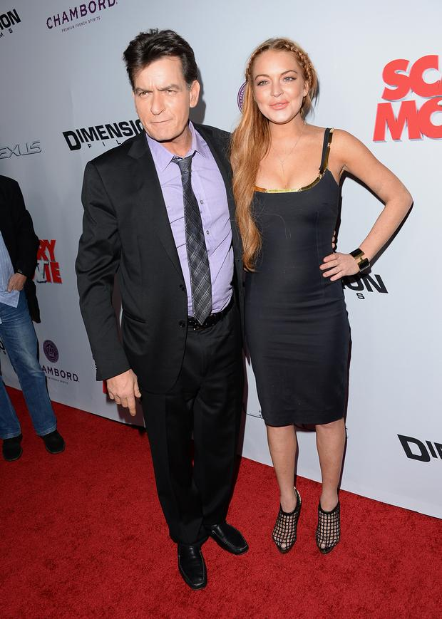 Charlie Sheen helped out Lindsay Lohan when she needed it most - the star even loaned her €100k after they filmed Scary Movie 5 together