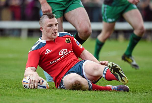 Andrew Conway scores Munster's first try in the win over Connacht