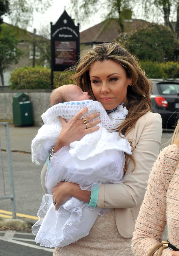 Michelle Heaton and husband Hugh Hanley at Ballyroan church for the christening of their baby boy AJ. Picture: John Dardis