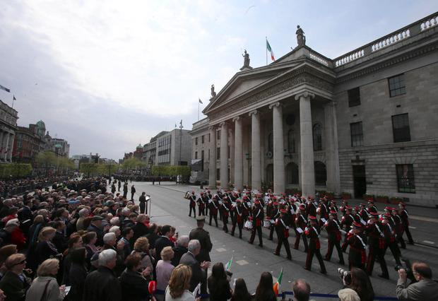 Thousands gather to commemorate the 98th anniversary of the 1916 Easter Rising at the GPO in Dublin