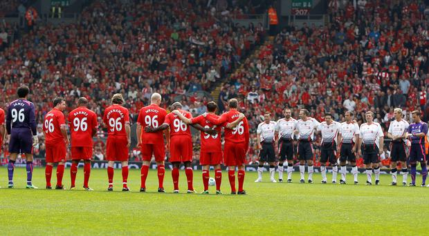 Liverpool Locals and Liverpool International Greats line up before the Celebration of The 96 Charity Match at Anfield, Liverpool.